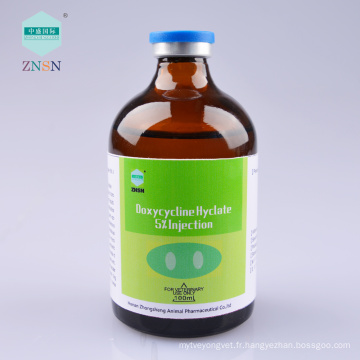 Doxycycline Hyclate 5% Injection tréine porcine mycoplasme pneumonie, maladie de la salmonelle, maladie de pasteurella