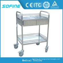 SF-HJ2723 Edelstahl Krankenhaus Crash Cart Medical Trolley
