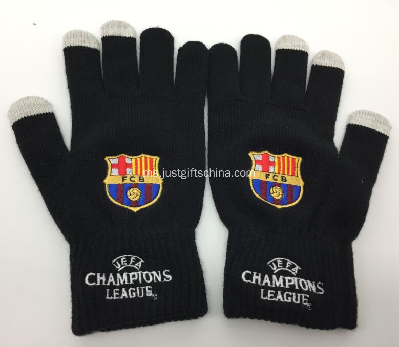 Custom Futbol Club Barcelona Knitted Gloves