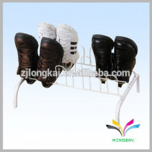 Modern design white metal wire floor stand shoe display stand