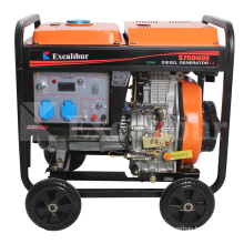 New model 5KVA 6KVA 5KW  open three phase 186f single cylinder diesel generator with four wheels