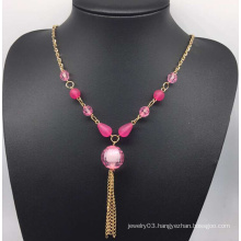 Colorful Beads Pearl Sweater Necklace (XJW13759)