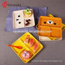Custom verschiedene Farbe Keramik 3 Fächer Platte, Keramik geteilt Tischplatte