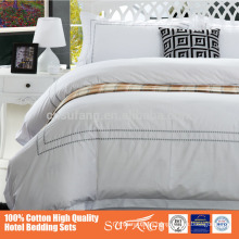 Hotel White Cotton Sateen Fabric Classical Embroidery Hotel Products Wholesale