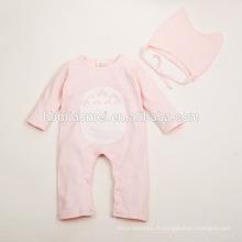 2016 usine approvisionnement direct nouveau design infantile bébé barboteuse flocage à manches longues une pièce jumpsuit