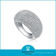 Micro pavimentado anillo de joyería de plata de ley (SH-R0011)