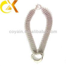 Delicado regalo de acero inoxidable joyas de plata mujeres collar vners con forma de corazón