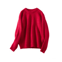 PK18D09YF woman crew neck open stitch sweater