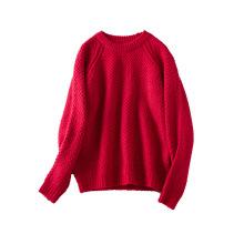 PK18D09YF woman crew neck open stitch sweater