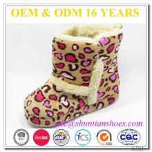 Nova moda leopardo com faux forrado inverno inverno sapato interior