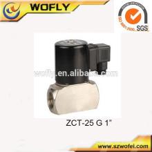 Electroválvula de gas de acción directa de acero inoxidable de 12 VCC