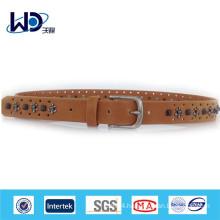 Anchor rivrt studded genuine leather belt