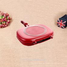 Nicht-Stick-Emaille glänzend rote doppelseitige Grillpfanne
