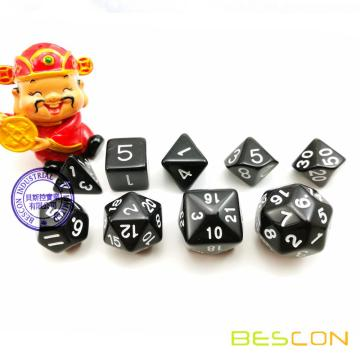 BESCON Set of 9 Polyhedral Dice Die D30 D24 D20 D12 D10 D8 D6 D4 Game Dice Set Dungeons and Dragons DND MTG RPG Dice (Black)