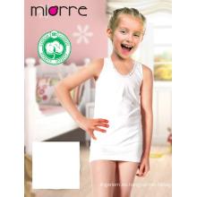 Miorre OEM Kid's Girl algodón clásico sin mangas camisa de la parte superior del tanque bordado Camomile Design
