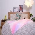 Colorful Rainbow Short Plush Fleece Teddy Sherpa Blanket