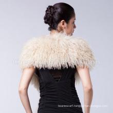 Custom Black Mongolian Lamb Fur Scarf Shawl