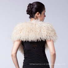 Xaile de pele de cordeiro mongol preto personalizado cachecol