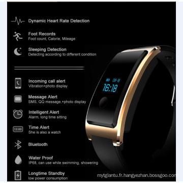 Imperméable à l'eau intégré USB Wechat Interconnexion Heatrate Monitor La surveillance du sommeil Bluetooth Super-Long veille Smart Watch avec moniteur de fréquence cardiaque