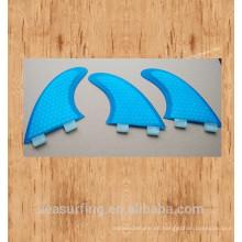 Nueva temporada de color azul hexagonal con aletas de diseño de belleza de la base FCS / FCS II en tablas de surf