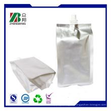 Silber Stand Plastik Wiederverschließbare Verpackung Tasche für Saft