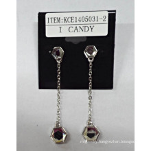 Metal Silver Plated Long Earrings with Gems