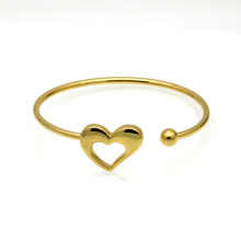 Fashion Laser Empty Thread Elasticity Heartbeat Cuff 18K Gold Heart Bracelet Bangle