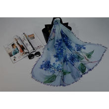 Factory direct Printed plain flower digital print polyester scarf wholesale women holiday beach scarves