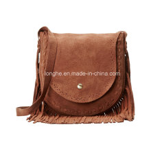 Retro Style Fringe Detail Ladies Suede Handbag (ZXS0095)