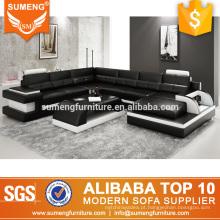 foshan cidade barato sala de estar preto branco italiano sofá mobiliário conjuntos com luz led