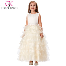 Grace Karin Sleeveless Layers Flower Girl Princess Bridesmaid Champagne Pageant Girls Birthday Party Dress 2~12Years CL008994-2