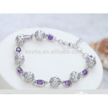 Branco e roxo bola de cristal 925 pulseira de prata esterlina
