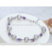 Белый и фиолетовый хрустальный шар формы 925 браслет стерлингового серебра
