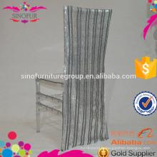 Housses de chaises de mariage en paillettes rayées