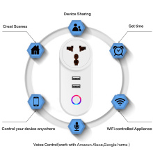 Chaoran Wifi Smart Home Switches and Sockets Electrical Indian Standard Multiple Plug Socket TUYA