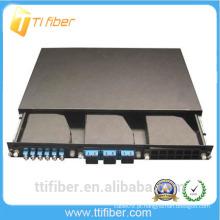 1U 19'Rack montou painel de remendo da fibra da montagem da cremalheira para 3pcs MPO Cassettes