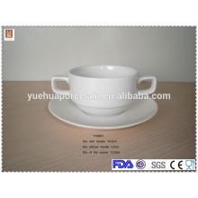 Cuenco de sopa de cerámica redondo barato con dos asa y platillo