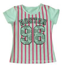 Linda Kids Girl Stripe T-Shirt em roupas infantis Sgt-048