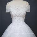2018 Alibaba nouvelle robe de mariée de manchon de cap d'été de Chine fait sur commande robe de mariée de mariée avec la conception de la dentelle