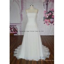 Kristall Perlen Straps plissiert Keyhole eine Linie Brautkleid Kleid