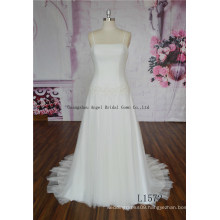 Crystal Beaded Straps Pleated Keyhole A Line Bridal Dress Gown