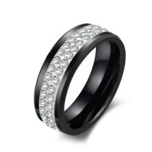 Bague en diamant, cadeau de Noël, bijoux en gros de mode noir bague en céramique pour les hommes, les femmes