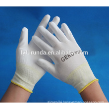 white PU gloves safety PU coated gloves en388 4121