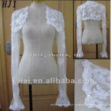 HJ1 Frete Grátis Alta Qualidade Custom Made Beautiful Lace And Applique White Tuller Bride Jacket