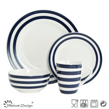 Ensemble de dîner en porcelaine 16PCS avec bande décorative bleue et conception de points