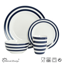 16PCS Porcelain Dinner Set with Blue Decal Strip and Dots Design