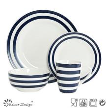 Ensemble de dîner en porcelaine 16PCS avec bande décorative bleue et conception de points