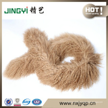 Gros cheveux longs bouclés fourrure d'agneau mongol fourrure laine écharpe