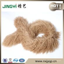 Оптовая Длинные Волосы Курчавый Мех Монгольского Ягненка Меха Шерстяной Шарф