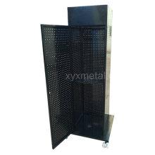 Quatro lados Exposição móvel Pegboard Stand Rack com porta antiaque